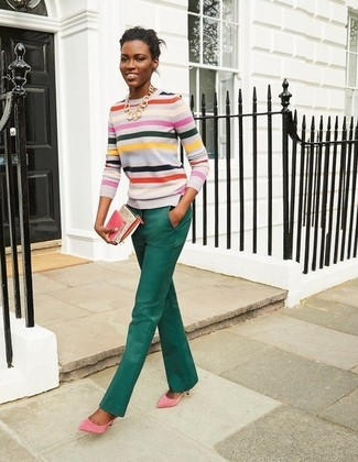 4f2066d1cb Look de moda  Jersey con cuello circular de rayas horizontales en  multicolor