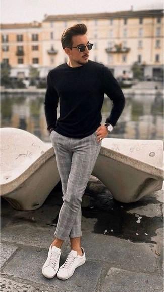 Pantalón de vestir de lana a cuadros gris de Twisted Tailor