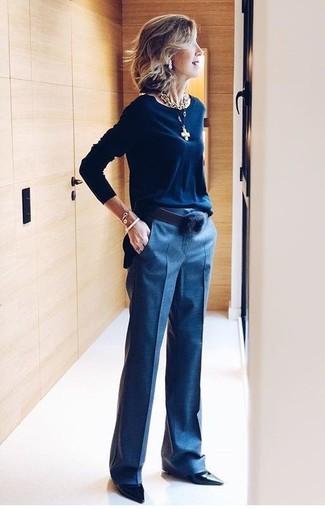 Cómo combinar un pantalón de vestir azul marino (53 looks de moda ... cb183ea6c0df