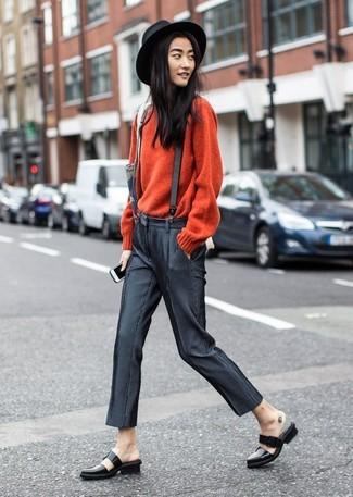 Look de moda  Jersey con cuello circular rojo 103f9b78612d