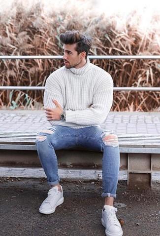 Tenis de cuero blancos de Philipp Plein