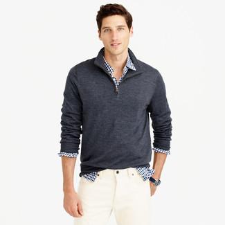 Jersey de cuello alto con cremallera en gris oscuro de Hackett London