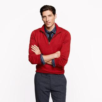 Jersey de cuello alto con cremallera rojo de Hackett London