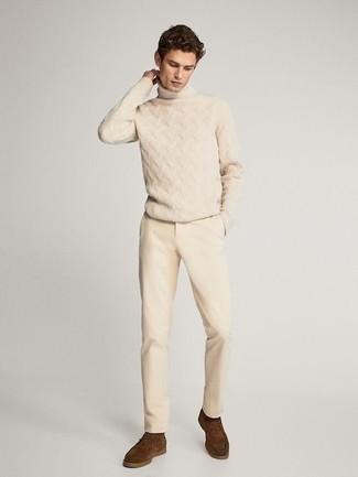 Unas Botas Safari De Vestir Con Unos Pantalones En Beige Para Hombres De 20 Anos En Otono 2021 Estilo Casuale 4 Outfits Lookastic Espana