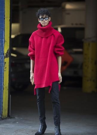 Cómo combinar: jersey de cuello alto de lana de punto rojo, vaqueros pitillo negros, botines chelsea de cuero negros