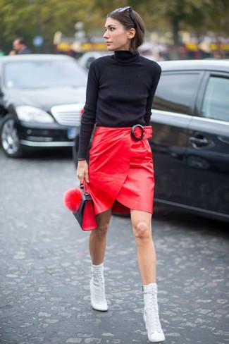 Moda 30 Una Para Combinar Cuero De Looks Moda Falda Cómo Roja Yzx6qa5