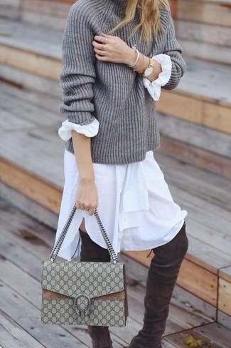 Jersey de cuello alto de punto gris de Eudon Choi