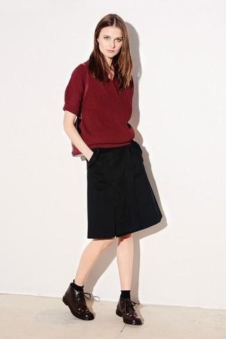 ... Look de moda  Jersey de manga corta burdeos 6b6d4b9ce5842