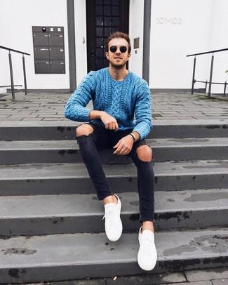 Jersey de ochos azul de Crew Clothing