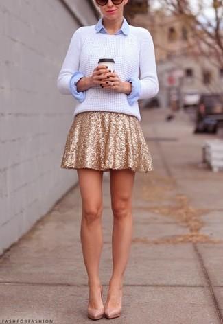 Falda skater de lentejuelas dorada de MSGM