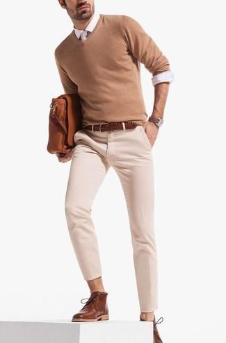 Jersey de pico marrón claro de Gant