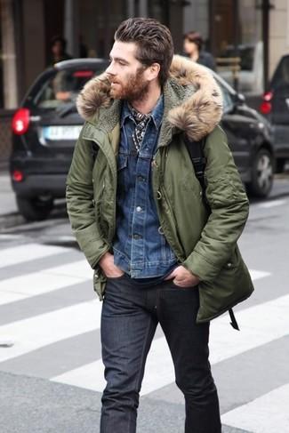 Parka chaqueta vaquera camiseta con cuello circular large 5141