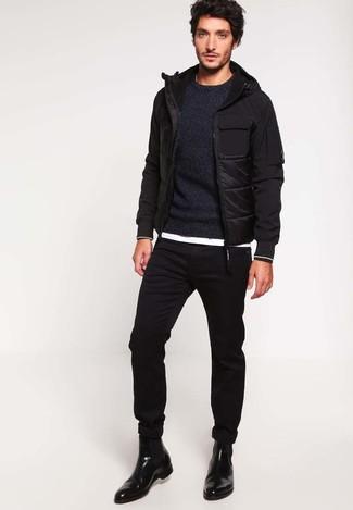 Jersey con cuello circular negro de Jack & Jones