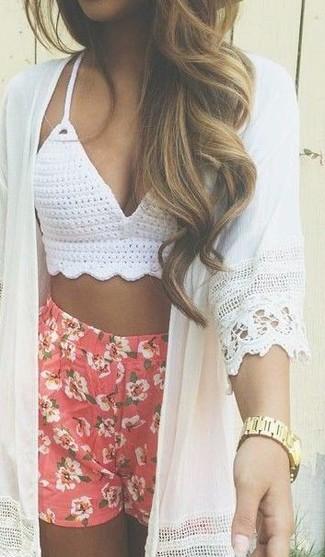 Top de bikini de crochet blanco de Dolce & Gabbana