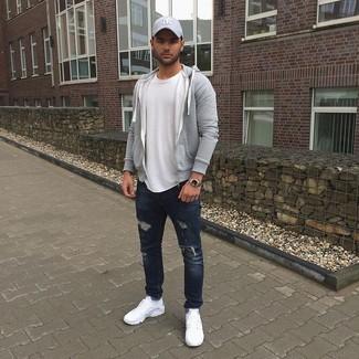 6f647e5c04adf Moda para Hombres › Moda para hombres de 30 años Look de moda  Sudadera con  capucha gris