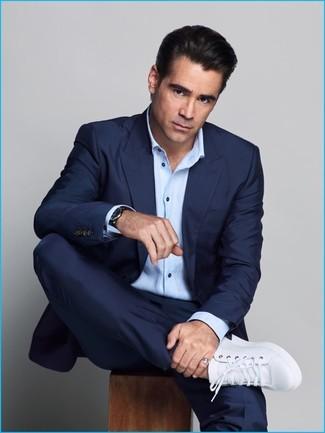 Traje azul marino camisa de manga larga celeste tenis de cuero blancos large 20127