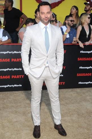Traje blanco camisa de vestir blanca zapatos oxford burdeos large 26355