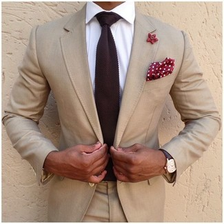Pañuelo de bolsillo a lunares en rojo y blanco de Charvet