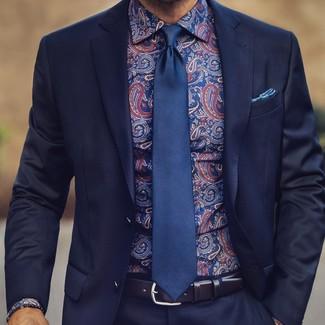 Cómo combinar: traje azul marino, camisa de vestir de paisley azul marino, corbata de seda azul marino, pañuelo de bolsillo estampado azul