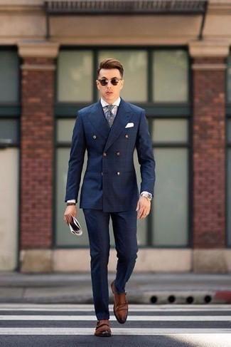 Cómo combinar una pulsera de cuero marrón: Este combo de un traje a cuadros azul marino y una pulsera de cuero marrón te permitirá mantener un estilo cuando no estés trabajando limpio y simple. ¿Te sientes valiente? Completa tu atuendo con zapatos con doble hebilla de cuero marrónes.