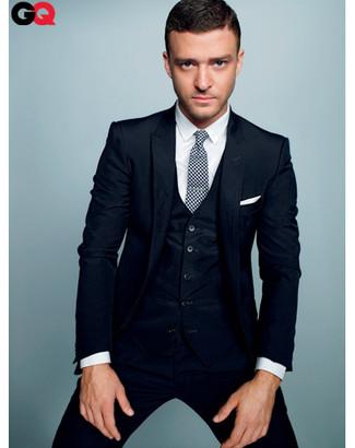 Traje de tres piezas azul marino camisa de vestir blanca corbata en blanco y negro large 827