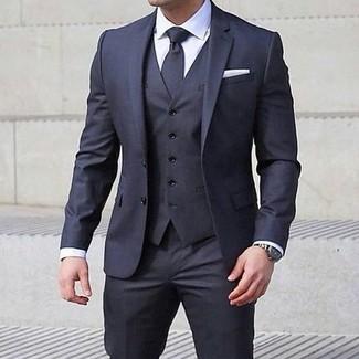 6f102ff3f686 Cómo combinar un traje de tres piezas en gris oscuro (106 looks de ...