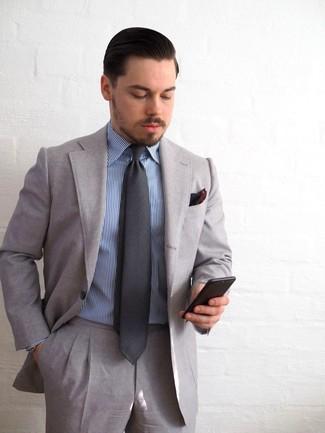 0d1f417253e69 Cómo combinar un traje gris con una camisa de vestir azul (15 looks ...