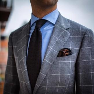 Corbata estampada en gris oscuro de Salvatore Ferragamo