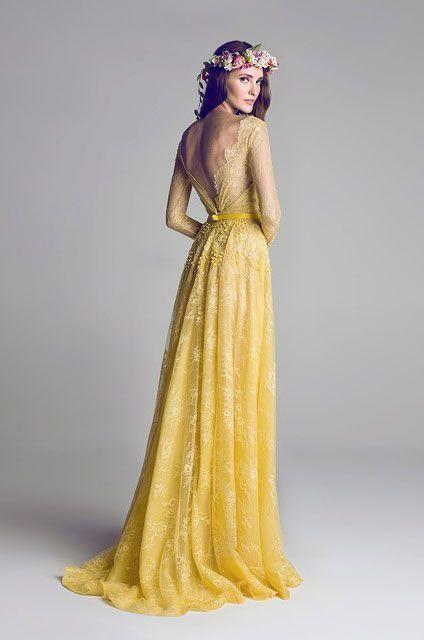 Look de moda Vestido de Noche de Encaje Amarillo, Cinta para la Cabeza de