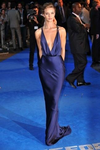 Vestido de seda azul