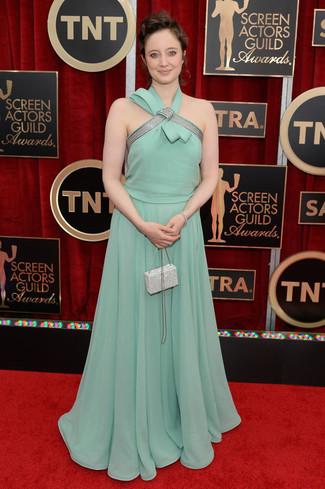 Vestido de noche en verde menta cartera sobre con adornos blanca large 8027