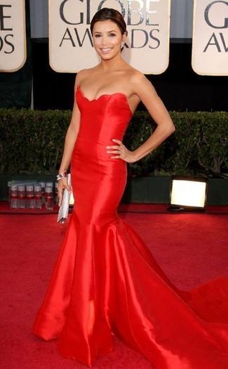Vestido de noche rojo cartera sobre plateada pulsera plateada large 22913