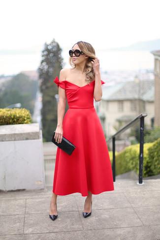 Vestido noche rojo zapatos