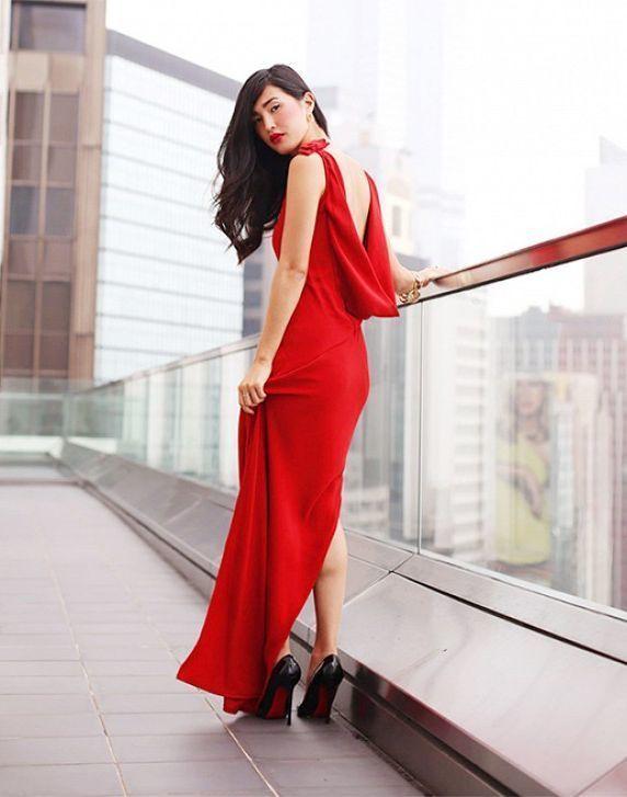 Como combinar un vestido rojo para la noche