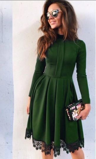 Vestido encaje verde oscuro