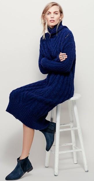 Combinar vestido de punto azul marino