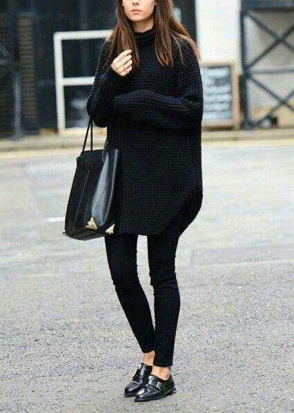 Combinar vestido negro de punto
