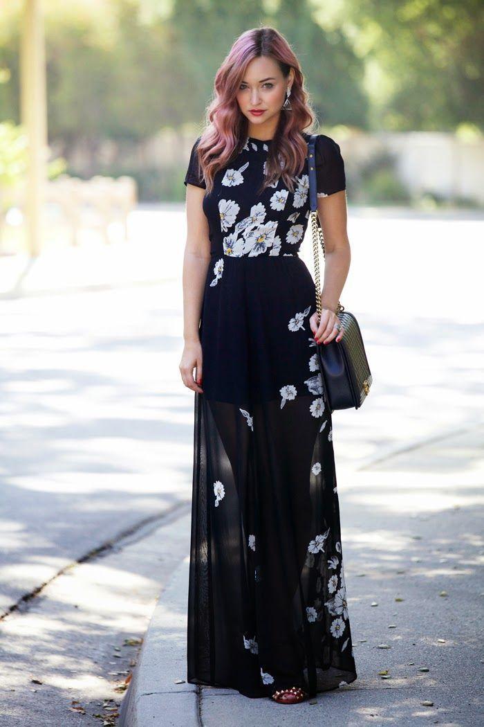 Combinar un vestido largo negro
