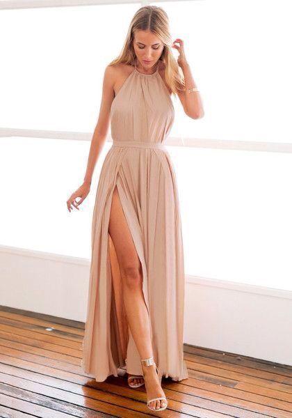 Vestidos largos con sandalias planas