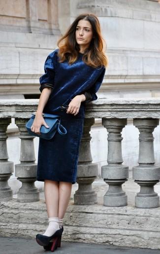 Vestido terciopelo azul marino combinar