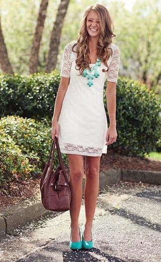 Zapatos para vestidos de encaje blanco