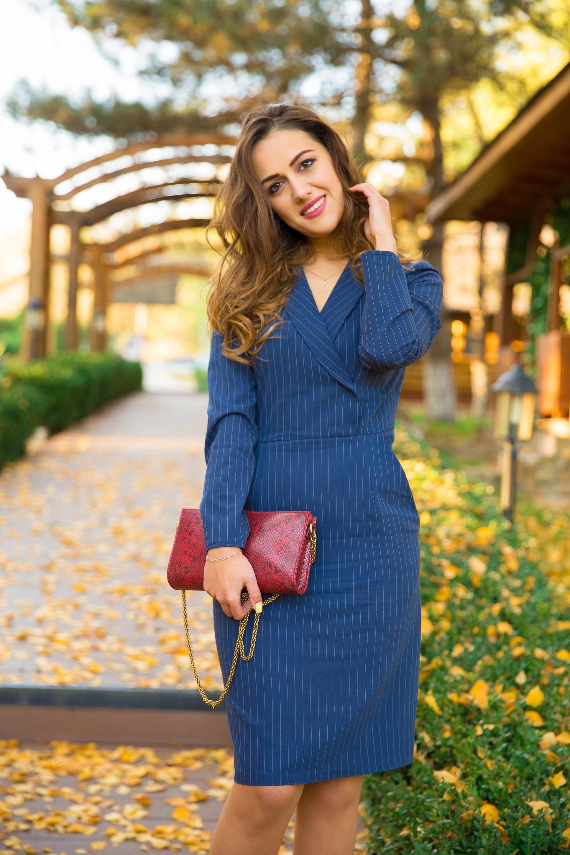 Look vestido azul rayas
