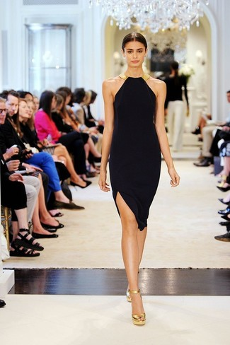 Vestido negro con dorado como combinar