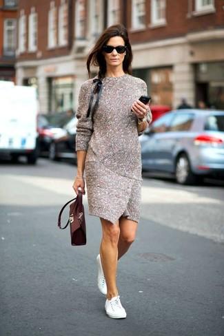 Cómo combinar un vestido de punto gris (23 looks de moda)  78faf21da40