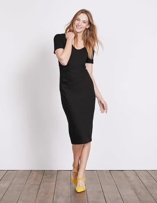 1fc52b0b Cómo combinar: vestido tubo negro, zapatos de tacón de ante amarillos