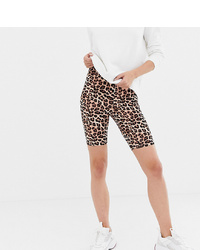 Mallas ciclistas de leopardo marrón claro de Asos Tall