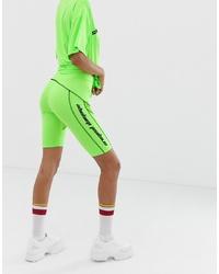 Mallas ciclistas en amarillo verdoso