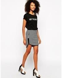 Minifalda a Cuadros Blanca y Negra de Vero Moda