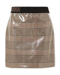 Minifalda a cuadros marrón claro de Fendi
