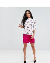 Minifalda con volante rosa